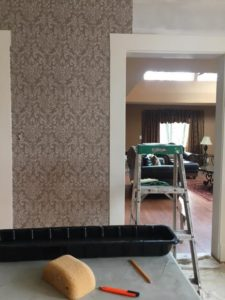 wallpapered wall, ramsden painting